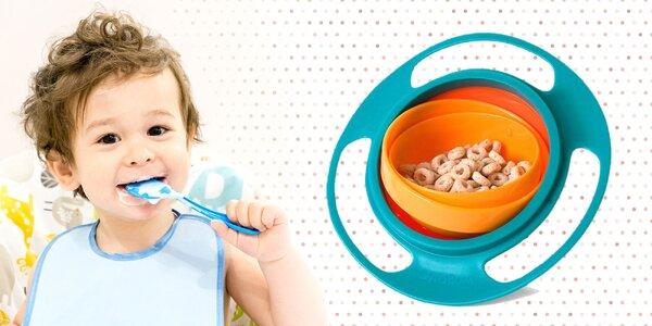 Neprevrátiteľná miska pre deti! Jedlo zostáva na svojom mieste!
