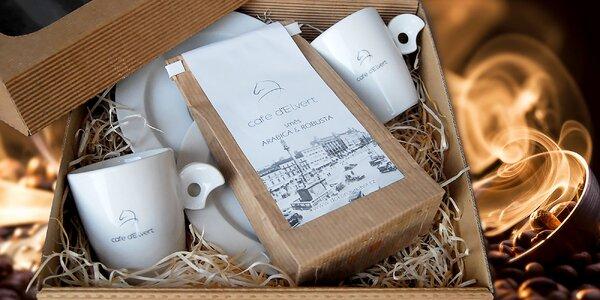 Darčekové balenie čerstvo praženej kávy d'Elvert a šálok na espresso