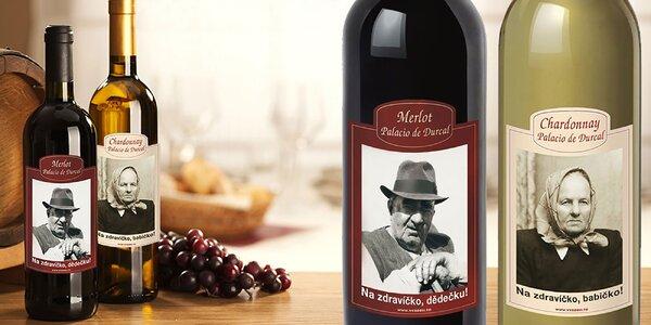 Fľaša španielskeho vína s vašou fotografiou