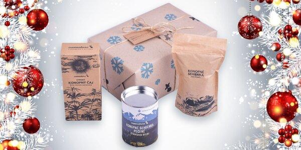Konopné darčekové balenie slovenskej značky Cannature