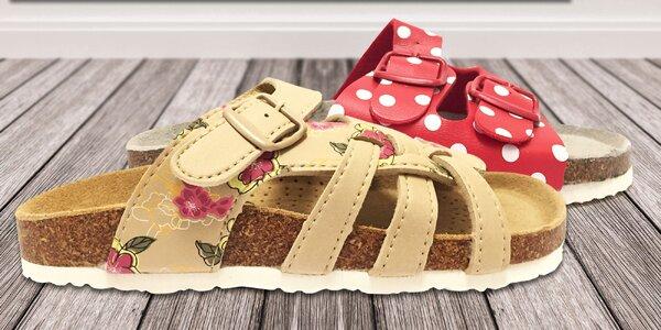 Dámske korkové papuče Samlux s koženou stielkou