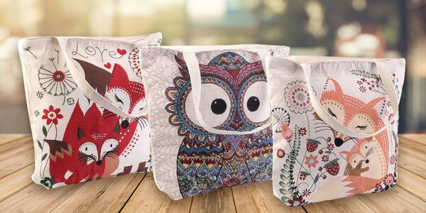 Ľanová taška s milými zvieratkami - na výber 6 motívov