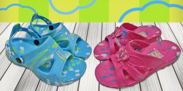 Detské nazúvačky a sandálky niekoľkých farieb i variantov