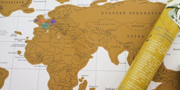 Cestovateľská stieracia mapa v tubuse