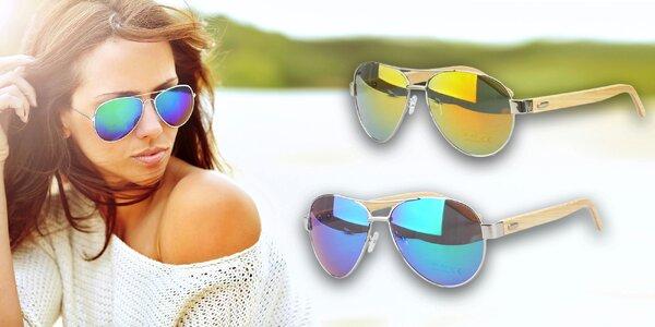Štýlové slnečné okuliare Pilot s dreveným rámom