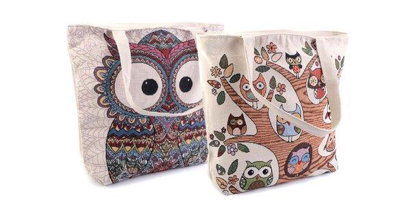Ľanová taška s milými sovami