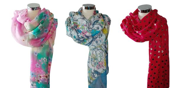 Elegantné veľké šatky s florálnymi motívmi