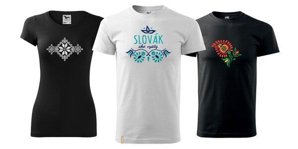 Originálne dámske a pánske tričká s ľudovou VÝŠIVKOU
