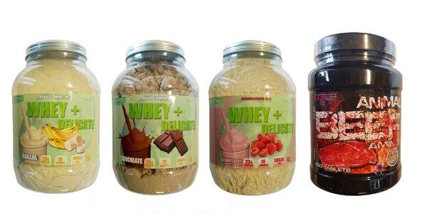 Balíčky proteínových doplnkov stravy v rôznych príchutiach
