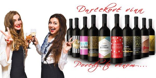 Jedinečná fľaša vína s etiketou podľa vlastného výberu