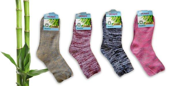 6 párov Dámskych bambusových termo ponožiek