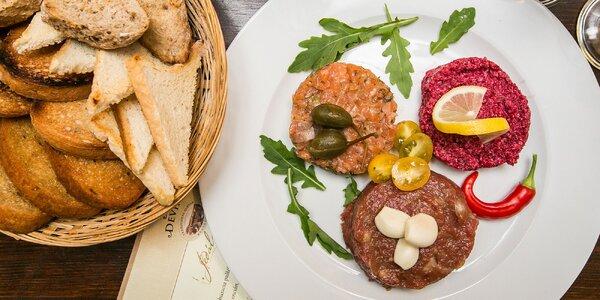 Tri druhy tatarákov v reštaurácii Devín