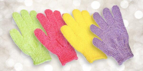 Peelingové rukavice na kúpanie a sprchovanie