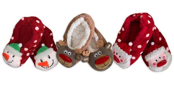Veselé vianočné papuče s rôznymi motívmi