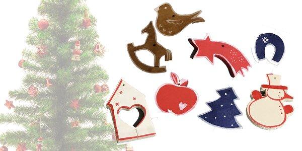 Sada drevených hand made vianočných ozdôb