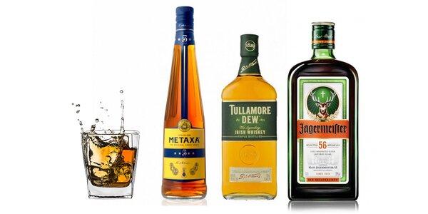 Jägermeister, whisky či Metaxa