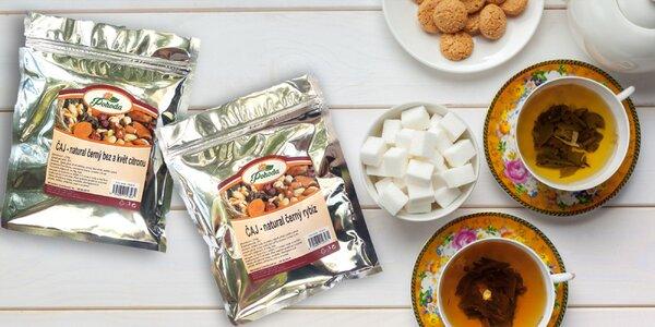 Sypané čaje: višňa, záhradná zmes aj slivka