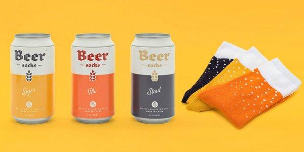 Zábavné pivné ponožky v plechovke