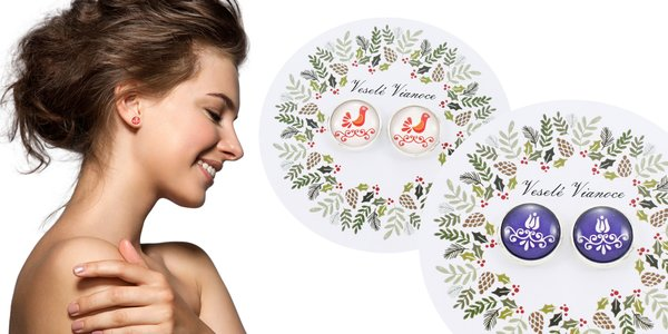 Dámske náušnice s ľudovým alebo vianočným motívom