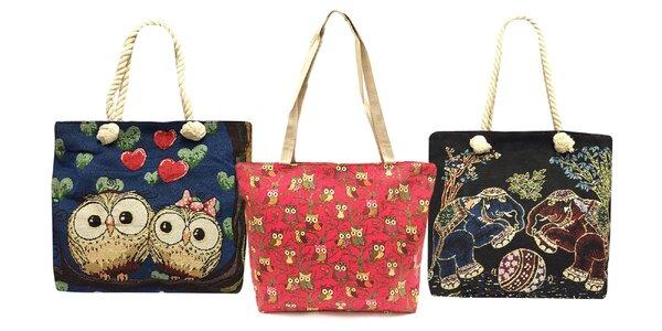 Dámske látkové tašky so sovičkami a sloníkmi