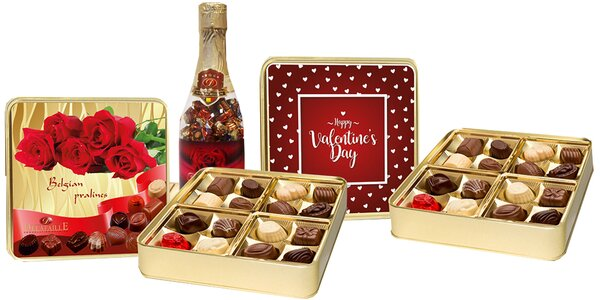 Valentínske sady belgických čokolád a praliniek