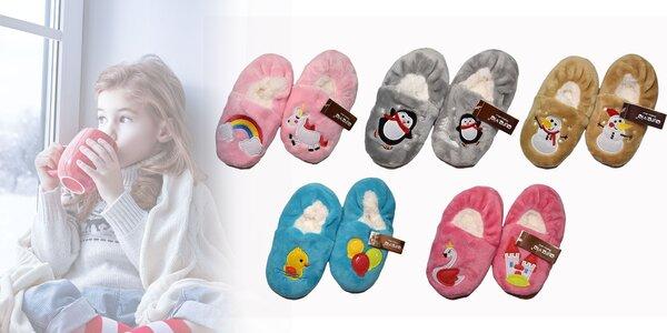Milé hrejivé detské papuče
