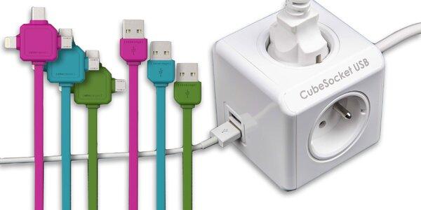 Zásuvka CubeSocket so 4 zdierkami a USB káblom