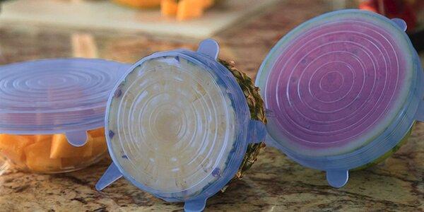 Sada šiestich silikónových pokrievok pre zachovanie čerstvosti potravín