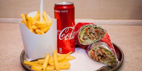 Veľký kurací DÜRUM kebab s hranolčekmi a nápojom
