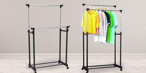 Dvojitý nastaviteľný stojan na oblečenie