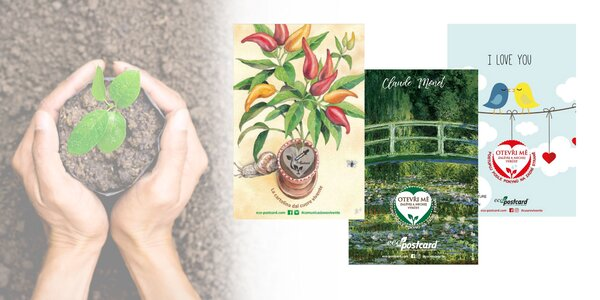 Eko pohľadnice s výberom motívov a semienok