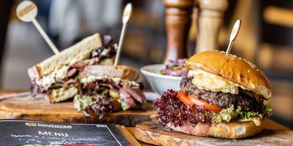 Burger s kozím syrom či pastrami ciabatta
