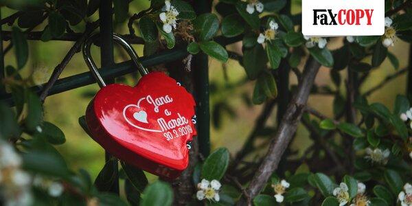 Zámok v tvare srdca s gravírovaním od FaxCOPY