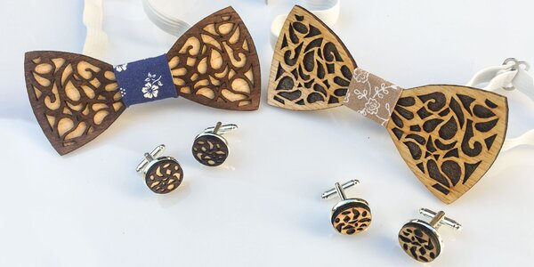 569976169a3f9 Trendy handmade drevené motýliky s manžetovými gombíkmi
