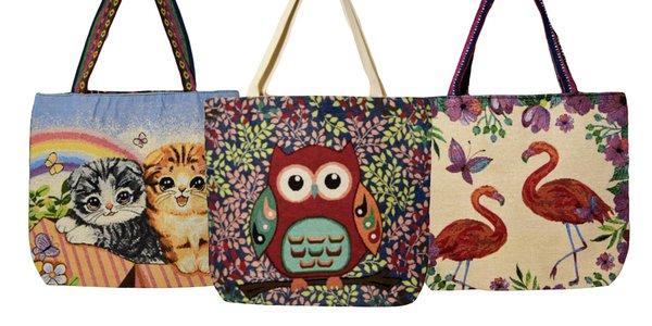 Ľanové tašky s veselými motívmi a živými farbami
