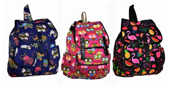 Textilné ruksaky s 3 druhmi veselých vzorov