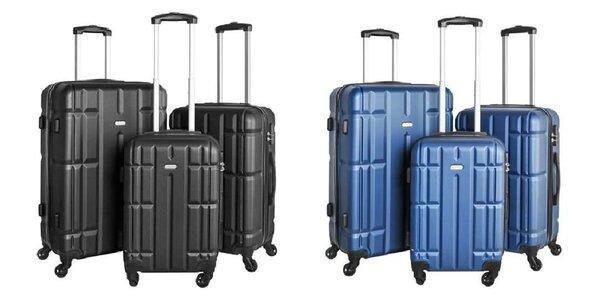 3-dielna sada cestovných kufrov (modrá a čierna)