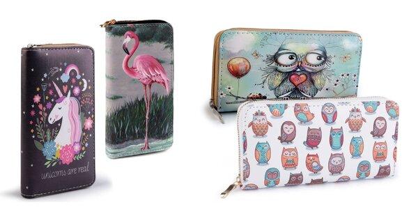 Elegantné dámske peňaženky so zapínaním na zips