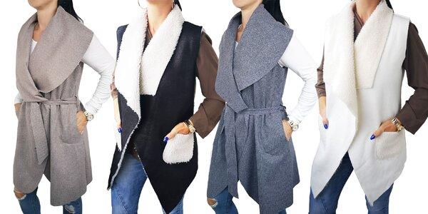 Elegantné dámske vesty s opaskom či kožúškom