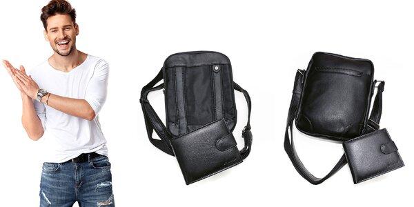Kožená peňaženka a crossbody taška pre mužov