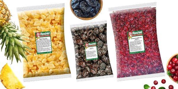 Balíčky sušeného ovocia: slivky, brusnice aj zázvor