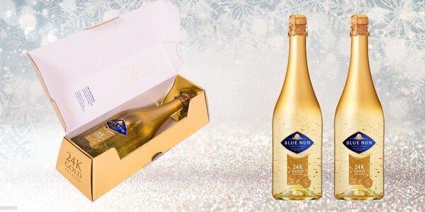 Šumivé víno s 24 karátovými lupienkami zlata