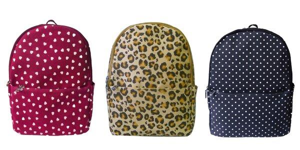 Dámske látkové batohy s rozkošnou potlačou
