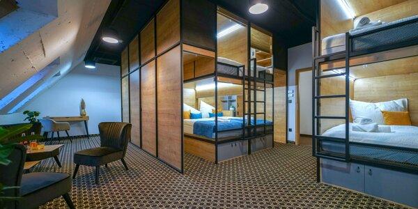 Ubytovanie v modernom kapsulovom hosteli v centre Bratislavy s raňajkami pre 1 až 3 osoby