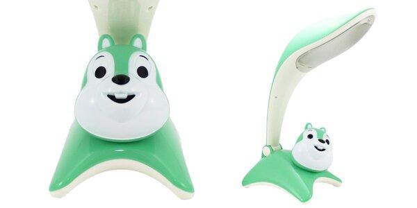 Detská stolová lampa Finelux: zelená veverička