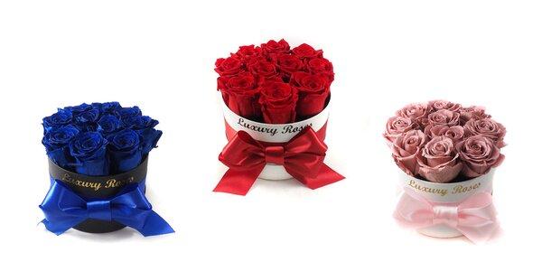 """Luxusný okrúhly box plný """"večnej"""" krásy ruží"""