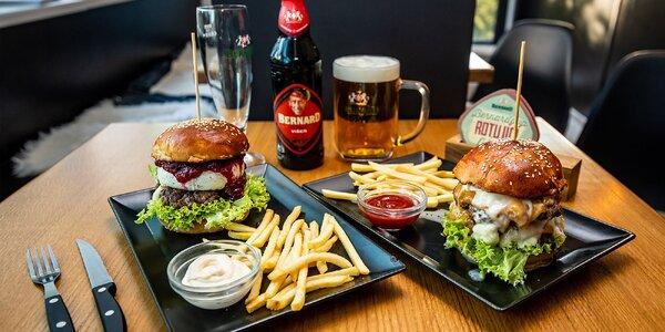 Nadupané burgery s hranolčekmi a omáčkou + pivo zdarma!