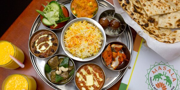Tri druhy indických jedál pre 2 osoby