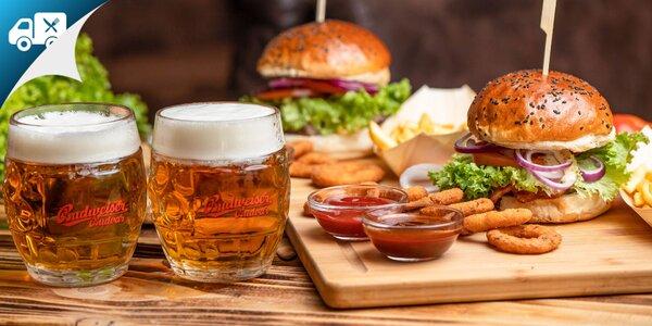 Hovädzí burger s tankovým pivom, aj na donášku!