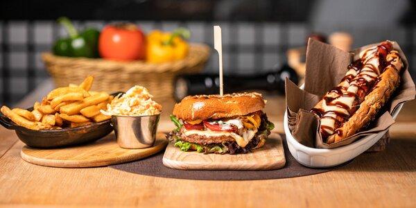 Hot-dog či burger s belgickými hranolčekmi